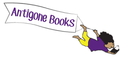 Antigone Books banner held by a person with long hair in yellow pants and a purple shirt reading a book
